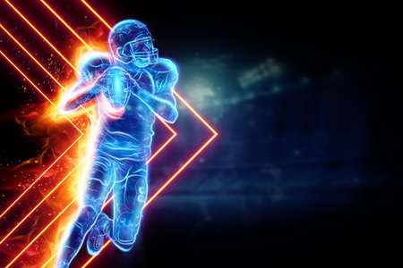 Silhouette of an American football player on fire on the background of the stadium. Concept for sports, speed, bets, American game