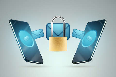 An encrypted letter, message, image of a padlock flies from smartphone to smartphone. The concept of information protection, encryption, cryptography. 3D illustration, 3D render