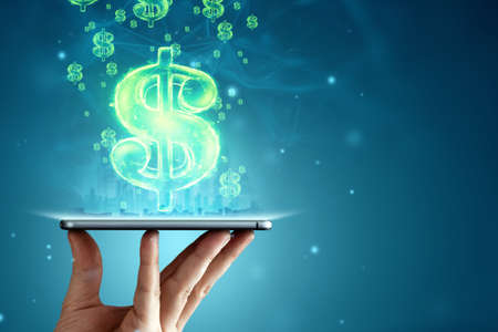 Dollar hologram and smartphone on a blue background. The concept of investment globalization, business, future, technology, dividends, working online. Mixed media