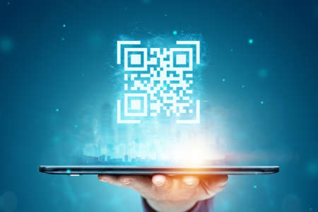QR code and smartphone, new technologies. Electronic digital technologies scanning, barcode