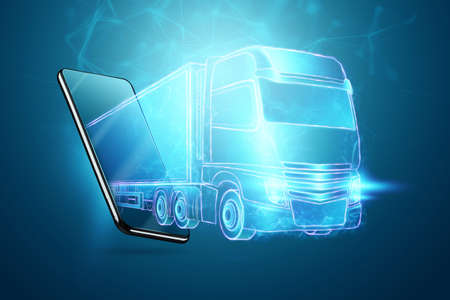 Truck hologram and smartphone. Parcel tracking applications, online cargo delivery service, logistics Stock Photo