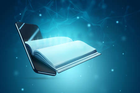 Online education application in a smartphone. Study by phone. Online book concept, e-books, e-education