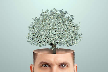 Business thinking, instead of a brain, a money tree sticks out of a man's head, dollars. Creative background, business concept, profitable idea, startup