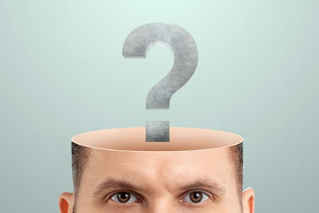 the male head is open instead of the brain with question marks. Creative background, concept of problem solving, searching for an answer, task, thinking 스톡 콘텐츠