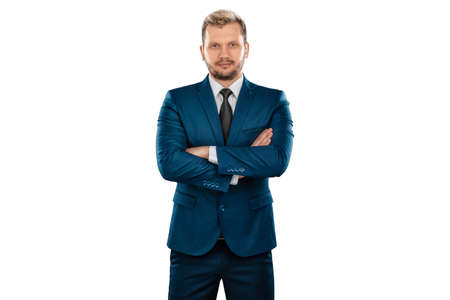 Man, businessman in business suit isolated on white background. The concept of great success in career, luck, business