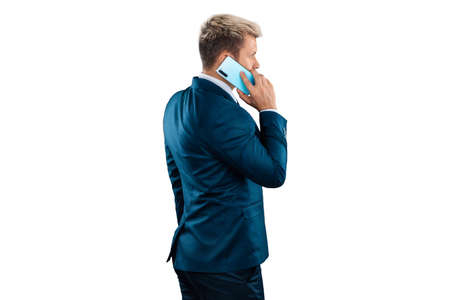 Man, Businessman in a business suit talking on the phone isolated on a white background. Uses the Internet for work and communication. concept Business online, important call, remote work, freelance