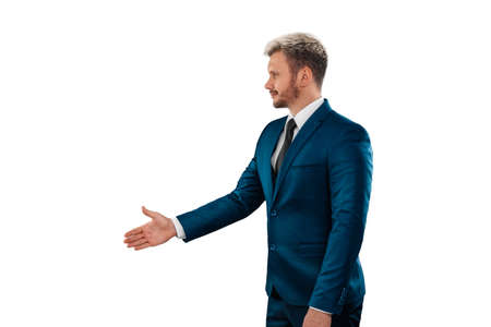 Serious Man, businessman in business suit handshake gesture, isolated on white background. Business concept, agreement, contract
