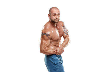 Male bodybuilder isolated on white background. Fitness workout concept, muscle groups, watch your body
