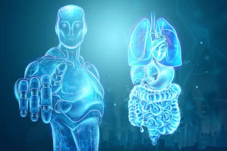 Holographic projection of scanning of human internal organs, machine learning. The concept of modern medicine, digital x-ray, new technologies, human anatomy. 3D illustration, 3D render
