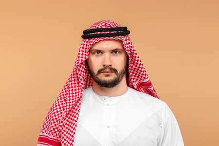 Portrait of Arabs men in national clothes. Dishdasha, kandora, thobe, islam. Copy space
