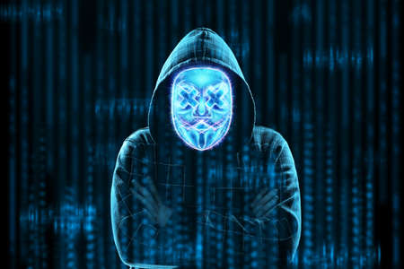 The face of a man in a capichon is hidden behind a digital hologram mask, hacker. Concept for internet crime, fraud, cyber attack, spam, electronic theft Banque d'images