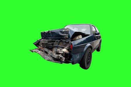 Car after an accident on a green background, broken hood, isolate, consequences of inattention on the roads