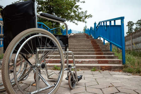 Large wheelchair. Wheelchair concept, disabled person, full life, paralyzed disabled person