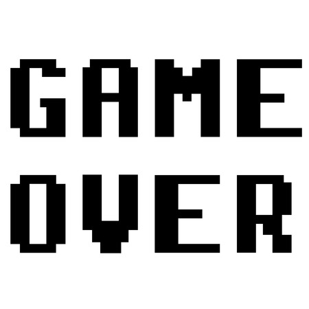Game over pixel style icon illustration.