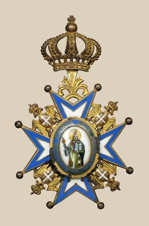 approximately: Old medal, approximately 1910-1930, isolated
