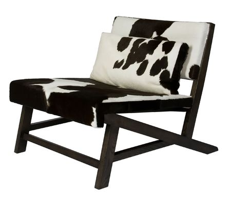 cowhide: Wooden chair with cowhide upholstery