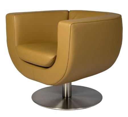 metal base: Leather lounge armchair with metal base, retro style.