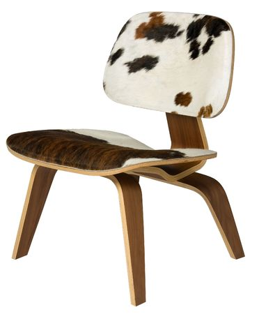 cowhide: Plywood chair with cowhide seat and back. Stock Photo