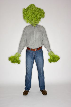 merged: Man with a lettuce in place of his head Stock Photo