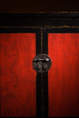 lacquered: Close-up detail of a vintage Chinese cabinet