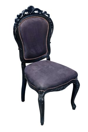 elaborate: Elaborate black antique chair with leather upholstery