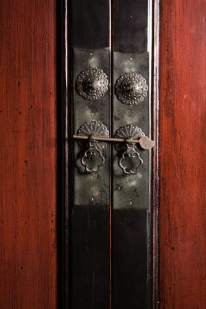 Close-up detail of a vintage Chinese cabinet Stock Photo - 3381317