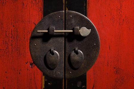 Close-up detail of a vintage Chinese cabinet Stock Photo - 3381315