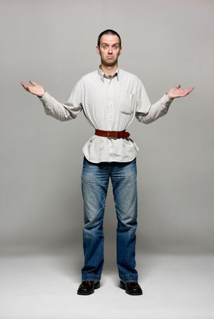 austerity: Young man with a belt tightened to the extreme