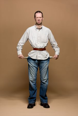 tightened: Young man with a belt tightened to the extreme
