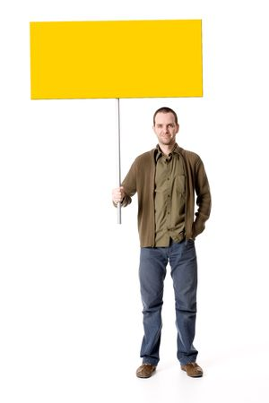 straight man: Casual young man holding a placard  sign, looking straight on