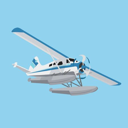 White and Blue Flying Hydroplane Иллюстрация
