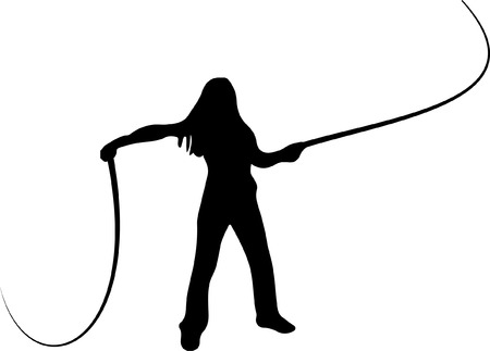 whip: Woman Cracking Whip Illustration