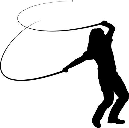 Vrouw Cracking Whip Stock Illustratie