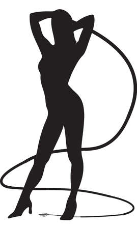 Sexy Woman Holding a Whip Illustration