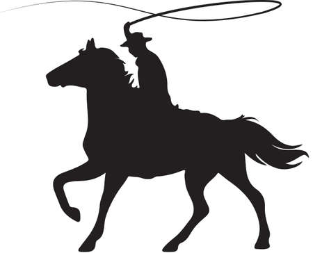 cowboy's: Cowboy on Horseback Cracking Whip Illustration