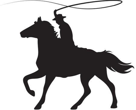 Cowboy on Horseback Cracking Whip Illustration