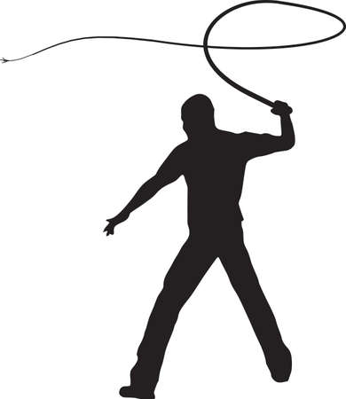 whip: Man Whip Cracking Illustration