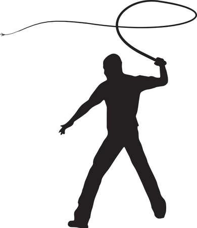 Man Whip Cracking Illustration