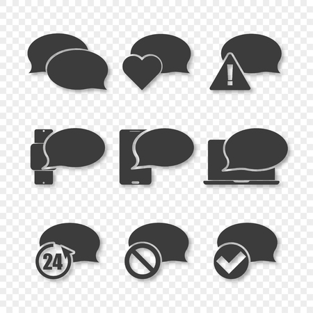 Bubble chat icons set on transparent background, vector
