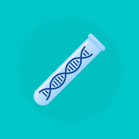 test tube with dna molecule inside, vector illustration Ilustração