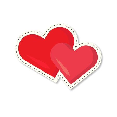 sticker two hearts with shadow, vector flat illustration