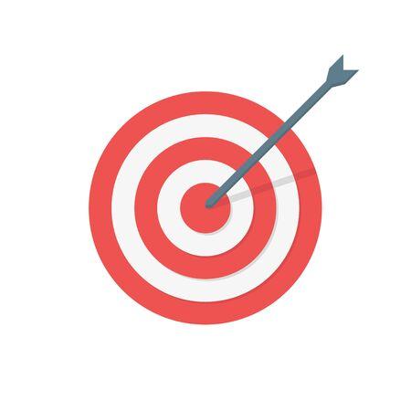 icono de color de flecha de destino en estilo plano, vector