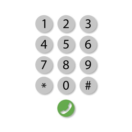 dial pad on phone with shadow, vector illustration