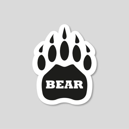 sticker with shadow bear footprint on gray background, vector