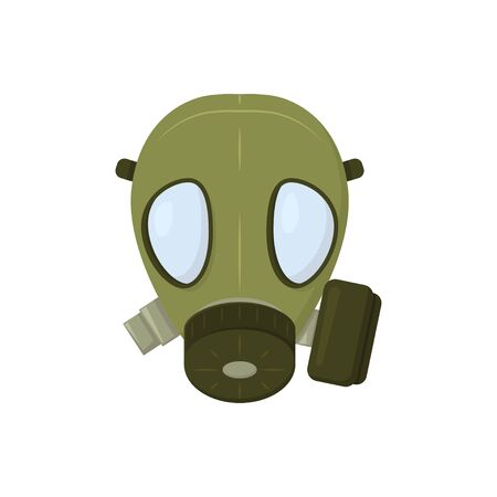 green gas mask on white background, vector illustration