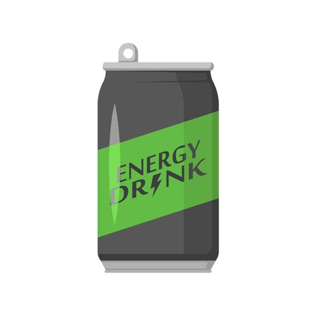 energy drink in a metal can, flat illustration