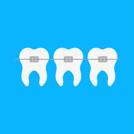 Dentistry, braces level teeth, illustration in flat style Ilustração