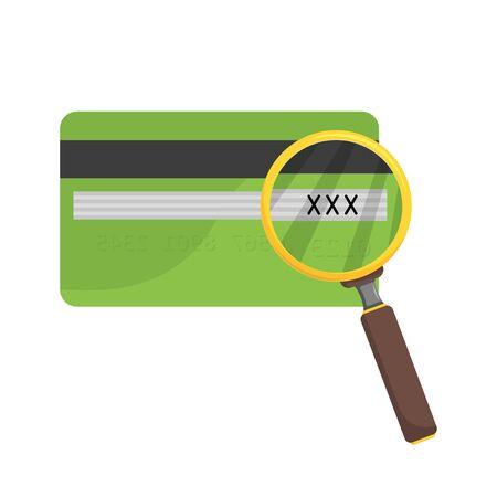 CVV bank card under the magnifying glass, flat Illustration
