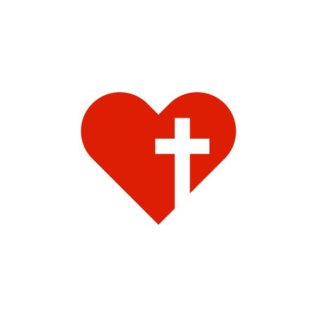 christian heart with cross in flat style