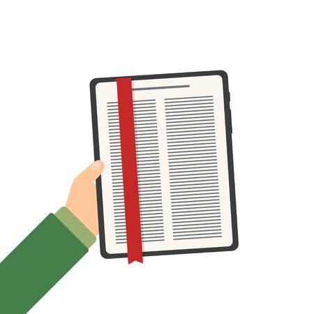 tablet e-book in hand in flat style, vector Stock Illustratie
